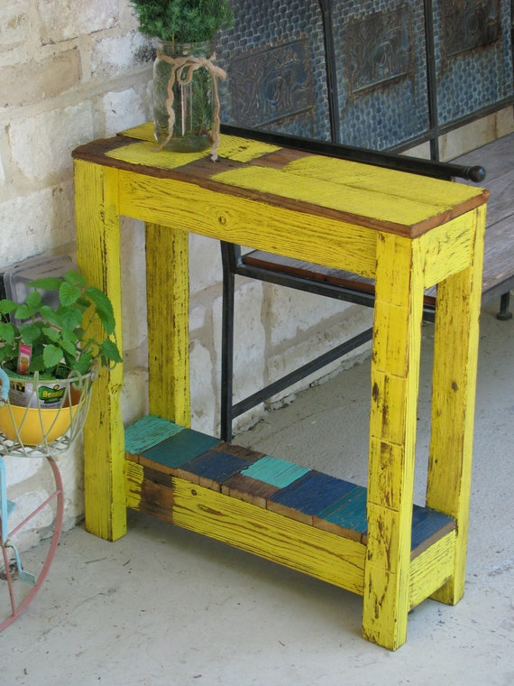 Farmhouse end table in yellow by dougandcristydesigns on etsy for Yellow farmhouse table