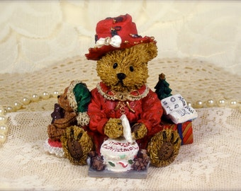 Adorable Sculpted Resin Fancy Christmas Teddy Bear Figurine in Red Dress and Hat