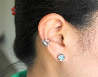 Turtle Ear Cuff, Stainless Steel 316L grade - Hypoallergenic.