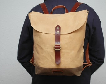 waxed canvas rucksack/backpack, vanilla color, snuff brown, with handles, leather  ,hand wax