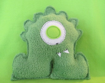 Plush Monster, SOFTIE Monster Friend, Handmade, One Of A Kind, 9-1/2 inches tall