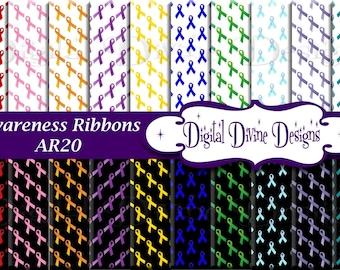 Awareness Ribbons Digital Scrapbooking  Paper Set - Instant Download