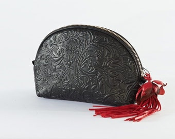 Leather Cosmetics Case, Leather Makeup Bag with decorative patterns
