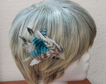 Feather Hair clip, blue and natural barred feathers