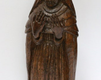 Price Reduced:  Wood Carved Female Saint