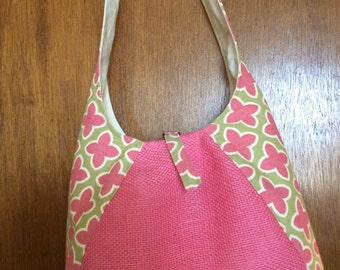 Pink Burlap Hobo Bag