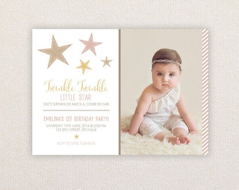 Girls Birthday Party Invitations. I Customize, You Print. Twinkle Twinkle Little Star.