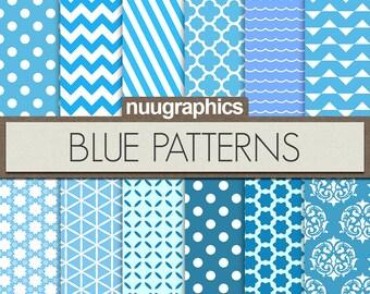 "Blue digital paper: ""BLUE PATTERNS"" with chevron, dots, stripes, waves, triangles, damask, stars, quatrefoil, circles"