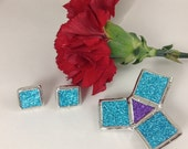 Dichroic Glass Brooch and Stud Earrings