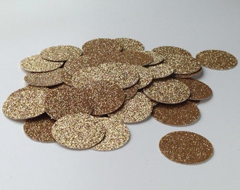 Gold glitter circle confetti, baby shower bridal shower birthday party wedding graduation