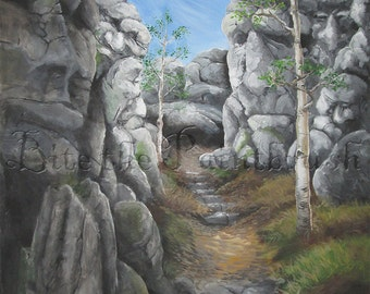 Rock Faces:  print of a path through a canyon with an unusual twist
