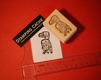 Hand carved rubber stamp - Tlingit eagle design.
