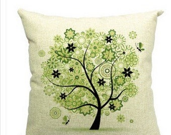 Linen Tree Pillow Cover