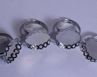 Adjustable Ring Base, Flat Ring Base, Pad Ring Base, Cabochon Silver Ring Blank, Set of Adjustable Ring Bases