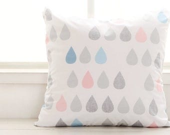 Scandinavian Style Big Raindrops Pattern Cotton Fabric (Sky Blue) AE19