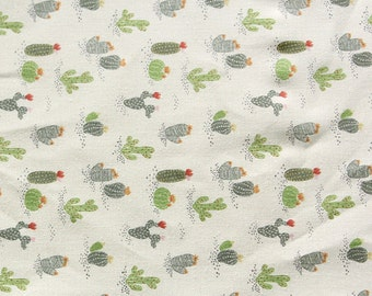 Half Yard-Lovely Cactus Pattern Linen Blended Fabric