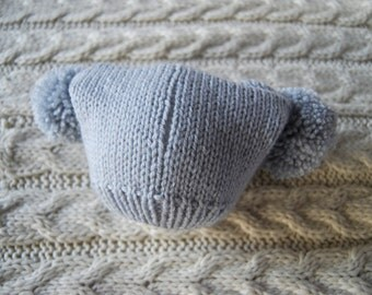 Grey hand knitted baby hat with two pompoms, unique and cute hat for newborn, knit hat with two pom poms, photo prop