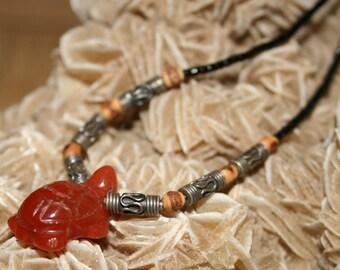 Carnelian Turtle Necklace