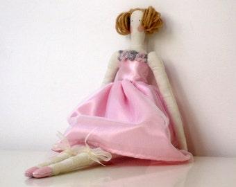 Pink Ballerina Doll, Pink Rag Doll, Handmade Fabric Doll, Cloth Doll Cute Stuffed Doll, Plush Doll for Girls Art OOAK - gift for girls