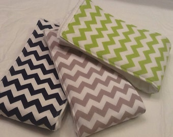Chevron baby burp cloths in lime green, navy, and gray