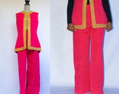 Vintage 1950's Lou Lattimore Fuchsia Wide leg Pant Suit With Metallic Gold Soutache Trim. S/M