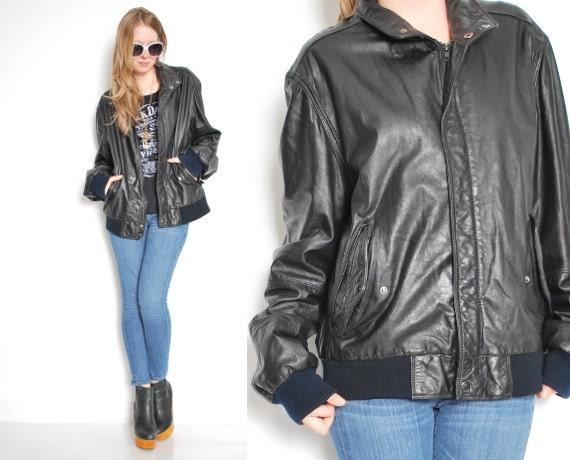 manteau vintage membres en cuir veste cuir noir veste. Black Bedroom Furniture Sets. Home Design Ideas