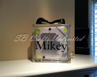 Home decor Custom 8 x 8 Lighted Glass Block.  Themed and personalized to suit.
