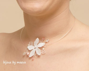 Wedding jewelry necklace lace flower ivory beads and transparent fishing