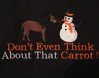 Horse trying To Eat Snowmans Carrot Embroidered on black sweatshirt