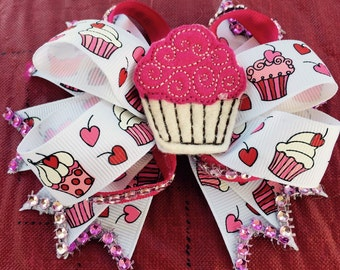 Cupcake stacked hair bow with bling