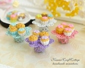 Miniature Cupcake Cupcakes Dollhouse Food Display Stand Filigree Platter, Cake Pastry Serving Tray, Doll Kitchen, Kawaii Candy Pastel Colors