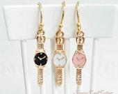 Jewelry Earrings, Kawaii Cute Miniature Watch Earrings Small Dainty Earring Handmade Goldfill Brass Earrings Jewellery Gift, Enamel Charms
