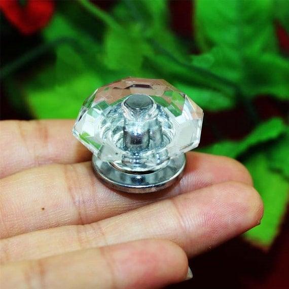 4 diamond head knobs acrylic plastics pull bureau knob for Glass bureau knobs