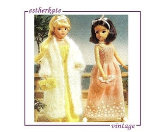 VINTAGE knitting pattern pdf, Sindy doll clothes, evening outfit, dress and coat, INSTANT DOWNLOAD