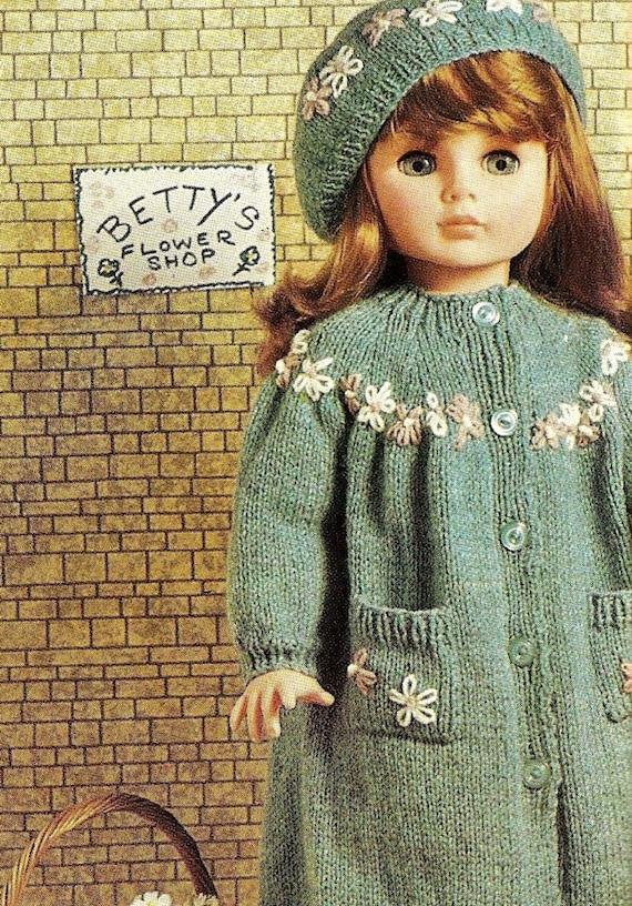 Vintage Knitting Pattern Beret : VINTAGE knitting pattern pdf, dolls clothes coat and beret to fit toddler dol...