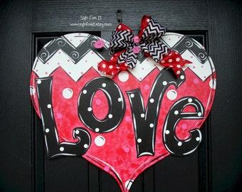 LOVE Valentine Heart Door Sign