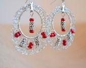 Fun Ladybug Red Beaded Hoop Earrings in Wire Crochet