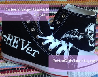 Avenged Sevenfold Batskull A7X Hand Painted Custom Shoes Converse Vans