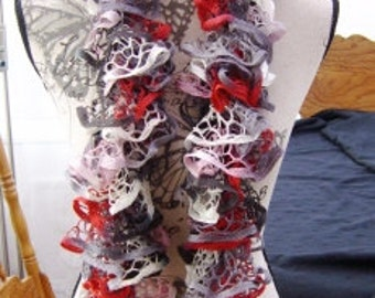 Red, Pink, White and Grey Ruffle Scarf.