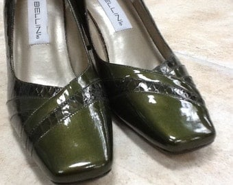 "80's,""Bellini"" Metallic Green Patent Leather Square High Heels ~ Size 9M"