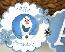 Frozen Olaf Banner Happy 1st Birthday  Birthday Party Banner  Snowman Banner Blue and White Birthday Banner  Party Decorations