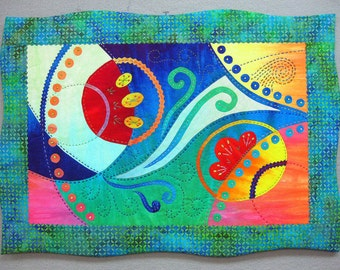 "Wall Hanging Art Quilt ""Air Born"" - 14"" x 19 1/2'"""