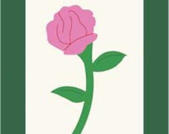 Rose Handcrafted Applique Garden Flag