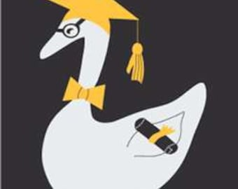 Graduation Goose Handcrafted Applique House Flag