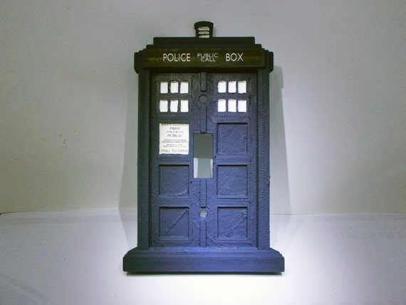 Doctor who tardis light switch plate tardis by rcubedcreations for Tardis light switch cover