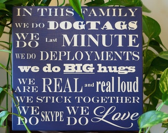 Military Family Customizable Wooden SIgn