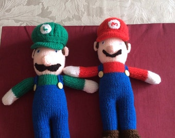 Knitted Mario and Luigi dolls