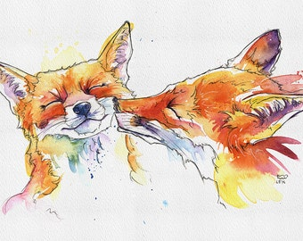 "Foxes print 5"" x 7"" from original handmade watercolour. IKEA Ribba, ready to frame"