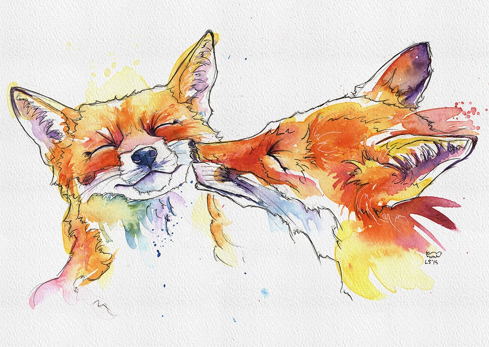 foxes print 5 x 7 from original handmade watercolour ikea ribba ready to frame