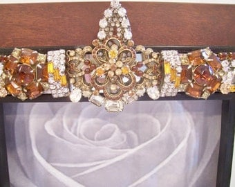 Wood Photo Frame Designed with Vintage Jewelry, New Jewelry and Rhinestones in Clear, Smokey Topaz and Golden Yellow.